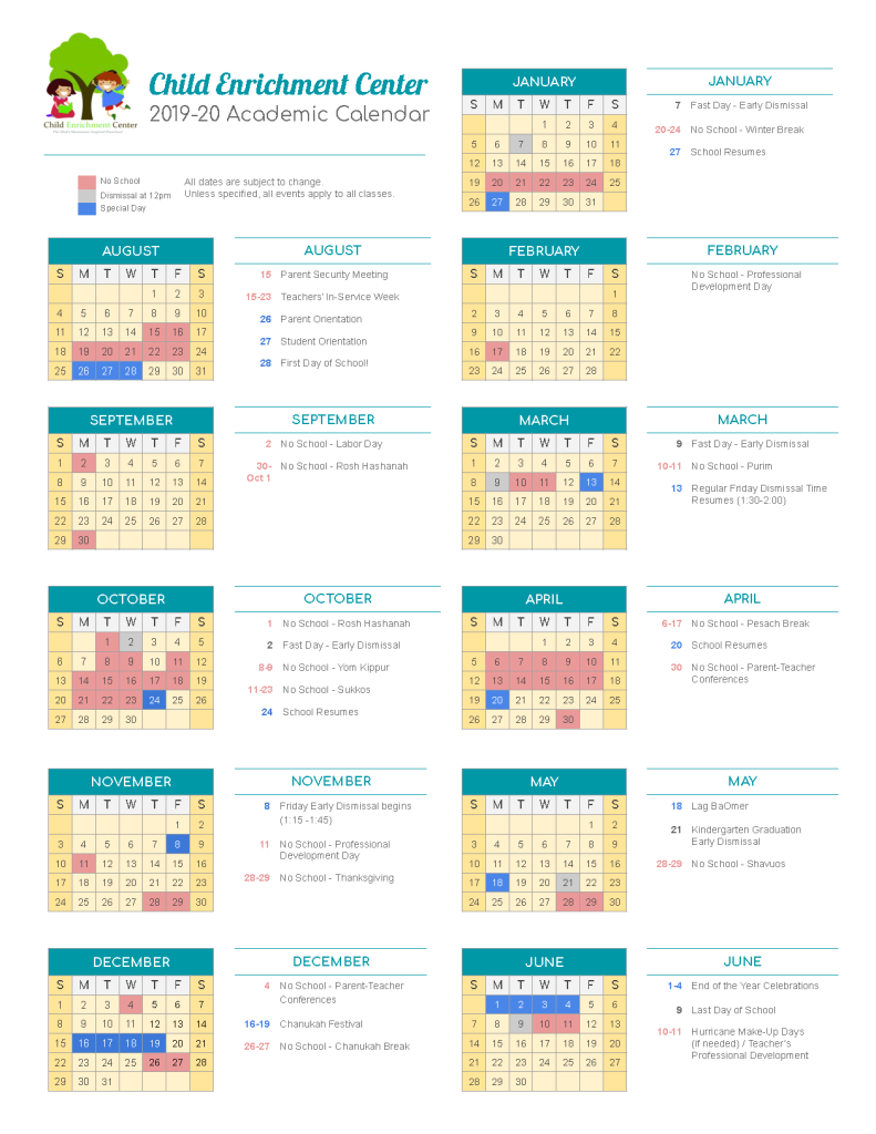 One-Page Calendar 2019-20